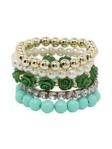 Green Layered Beaded Stretch Bracelet