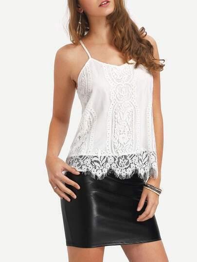 White Spagettic Strap Crochet Lace Hem Cami Top