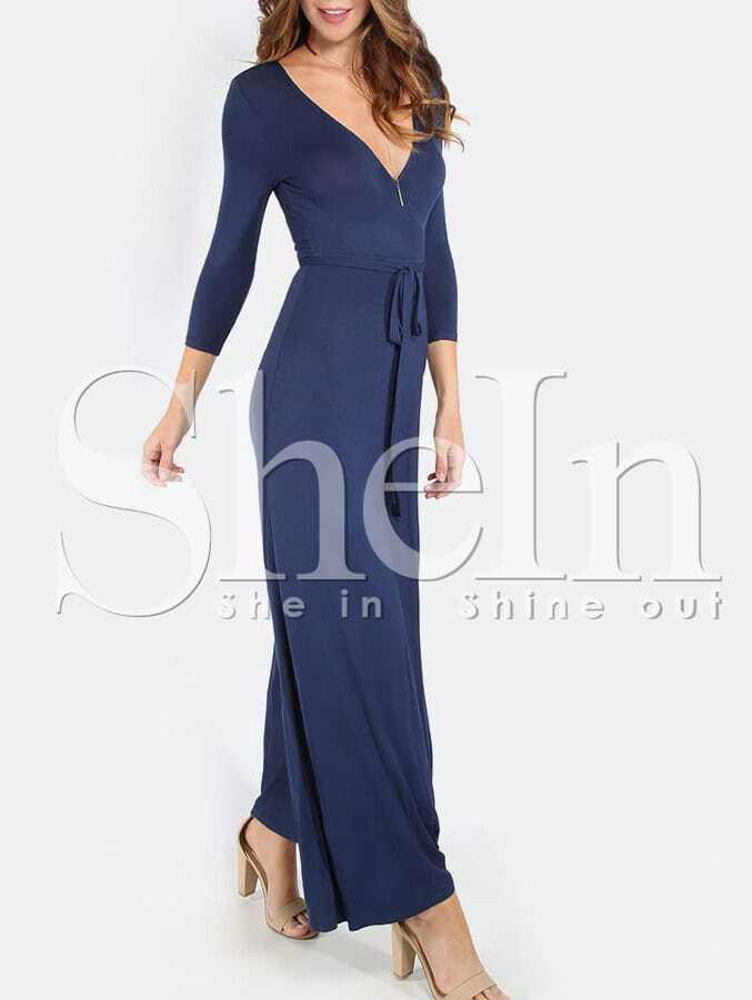 Dark Blue Cross V Neck Split Side Maxi Dress dress160302717