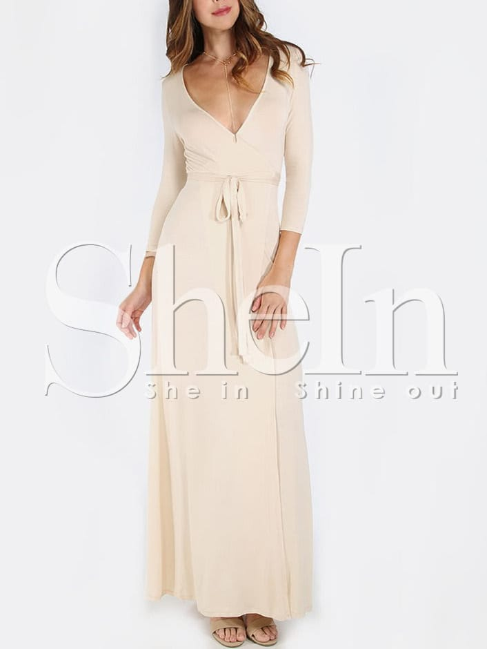 Apricot Cross V Neck Split Side Maxi Dress dress160307707