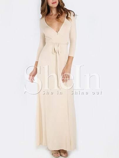 Plunge Neck Wrap Floor Length Dress