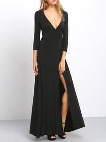 Black Cross V Neck Split Side Maxi Dress