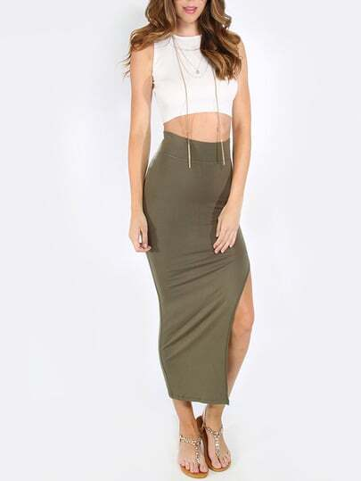 Army Green High Waist Split Side Pencil Skirt