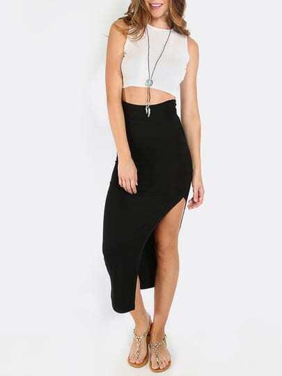 Falda cintura elástica con abertura -negro