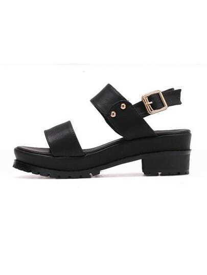 Thick Strap Buckled Block Heel Black Sandals