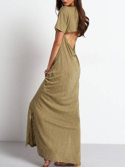 Army Green Cut Out Backless Split Maxi Dress pictures