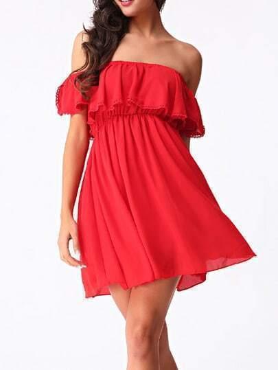 Off The Shoulder Ruffle Chiffon Dress