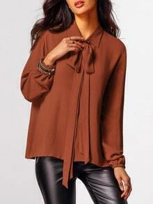 Brown Lantern Sleeve Tie Neck Blouse