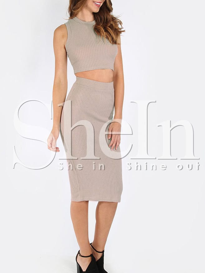Apricot Mock Neck Ribbed Top With Skirt twopiece160308702