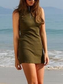 Army Green Mock Neck Zipper Front Rib Dress