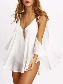 White Deep V Neck Open Shoulder Blouse