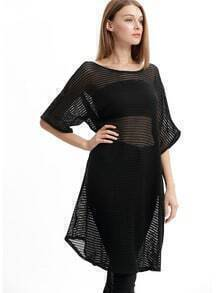 Black Stripe Batwing Sleeve Beach Dress