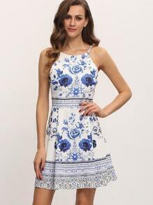 Blue Floral Print Spaghetti Strap Skater Dress