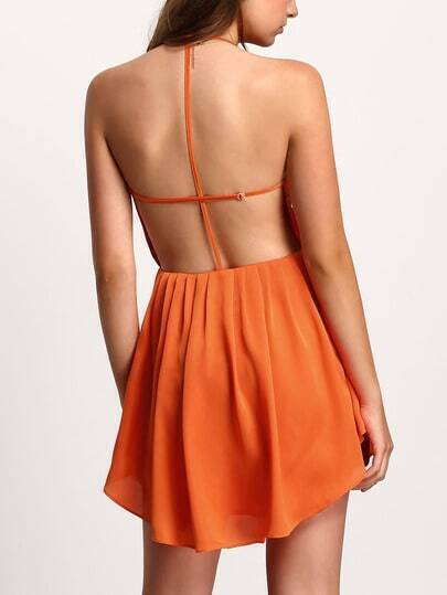 Orange Pleated Backless Halter Skater Dress