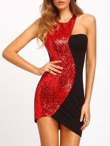 Color Block Sleeveless Sequined Bodycon Dress