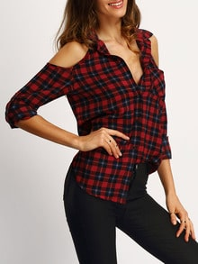 Red V-neck Open Shoulder Checked Blouse
