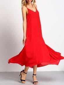 Bright Red Irregular Hem Spaghetti Strap Maxi Dress