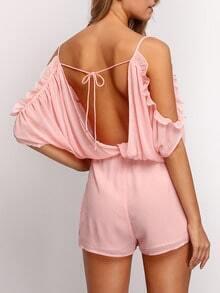 Pink Ruffle Split Sleeve Backless Romper