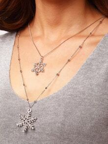 Crystal Snowflake Silver Layered Necklace