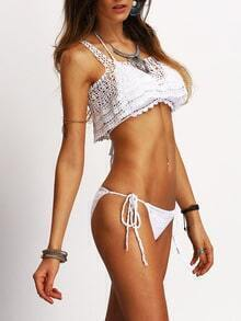 Hollow Out Crochet Flyaway White Bikini Set