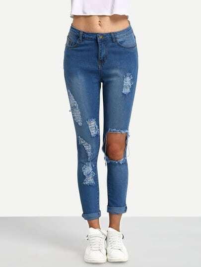 Blue Destroyed Denim Pant