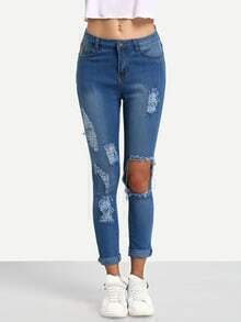 Blue Destroyed Denim Pant