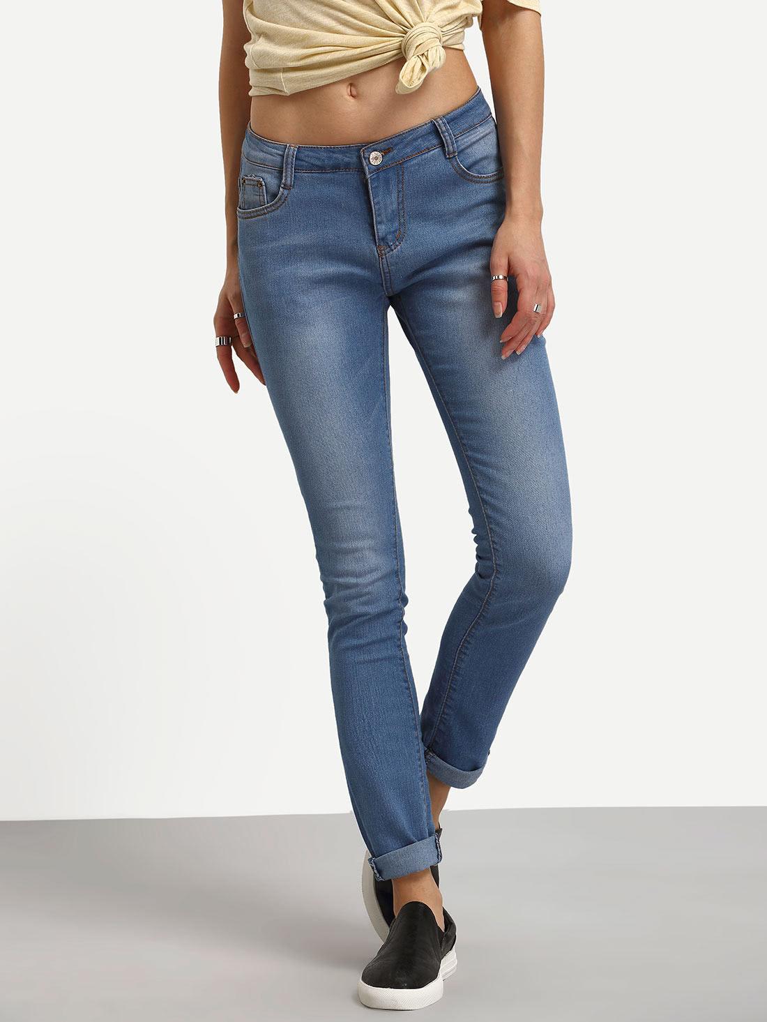 High Waist Rolled Hem Jeans solid rolled hem pants