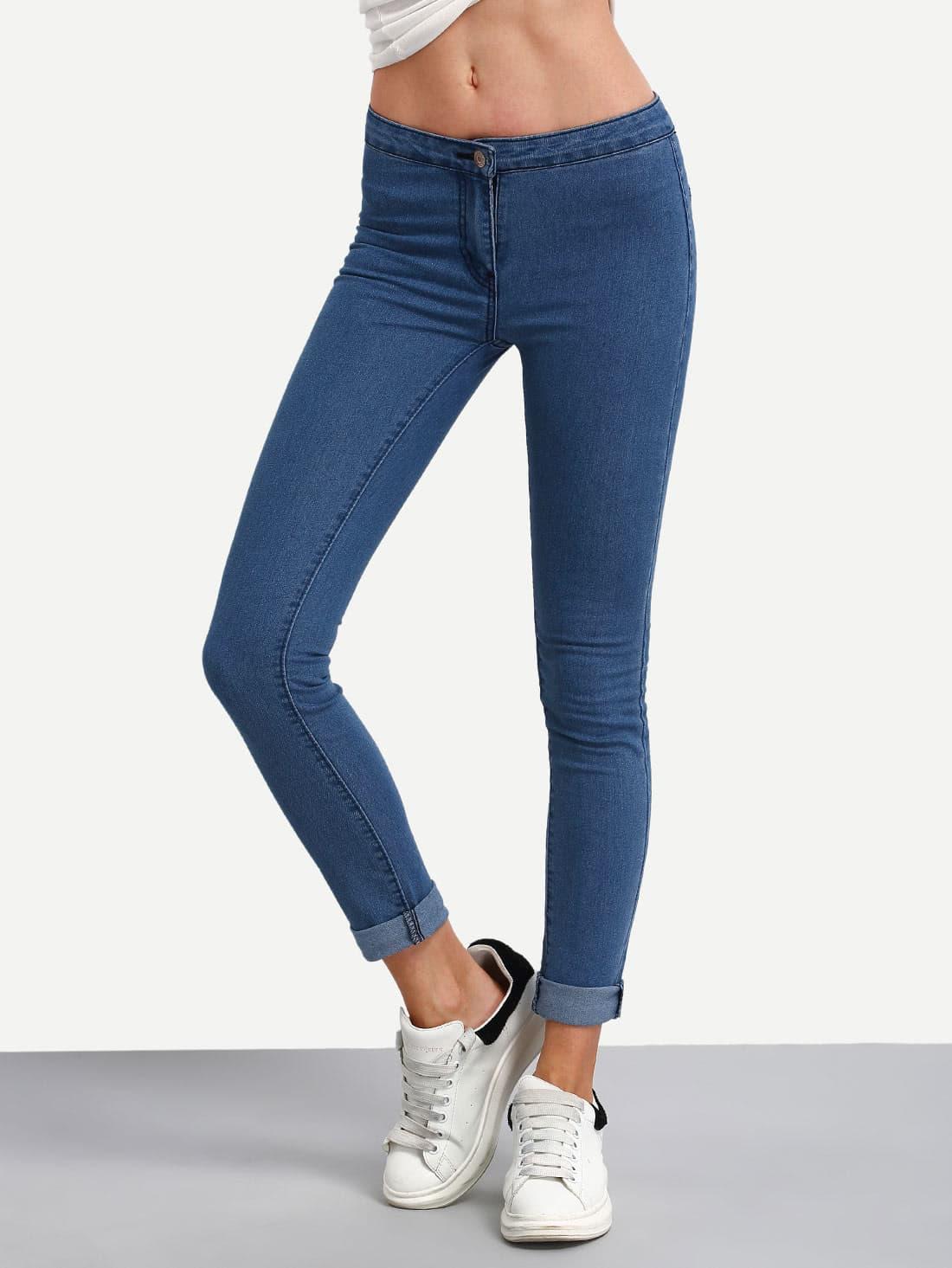 High Waist Denim Slim Pant цена 2017