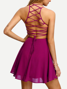 Cami Straps Caged Back Skater Dress