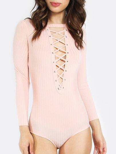 Pink Long Sleeve Lace Up Front Bodysuit