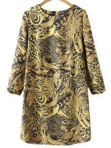 Yellow Keyhole Back Vintage Dragonic Print Dress