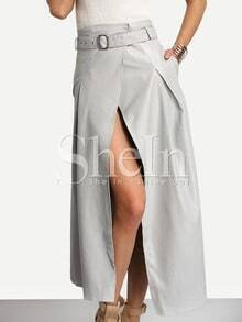 Grey Belted High Waist Split Skirt