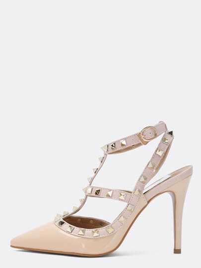 Nude High Heel Rivet Pumps