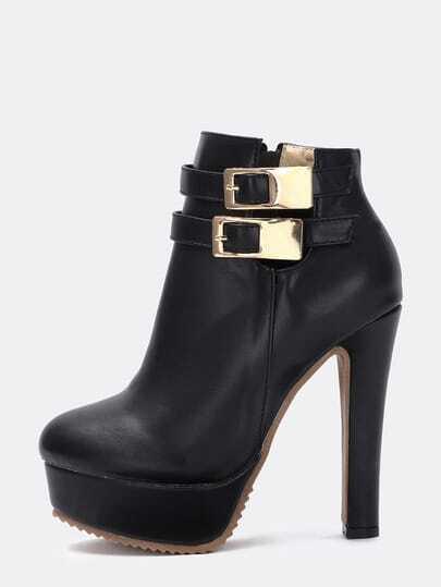 Black Twin Buckle High Block Heel Boots