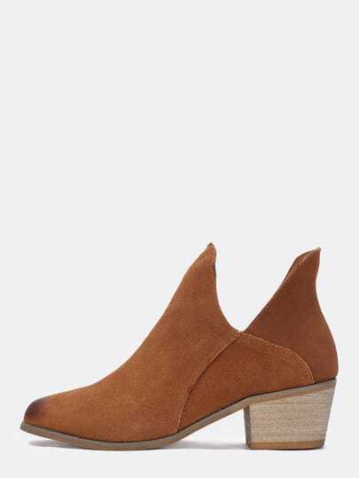 Brown Cutout Low Heeled Boots