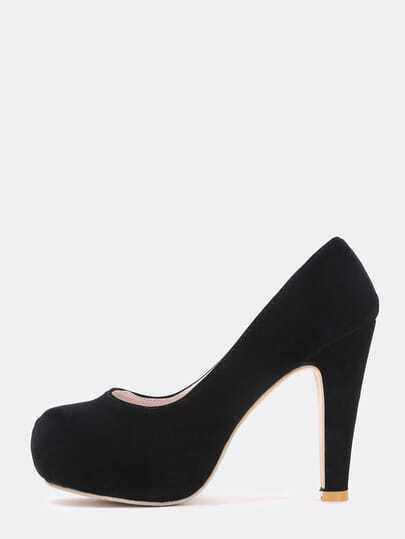 Black High Heel Hidden Platform Pumps