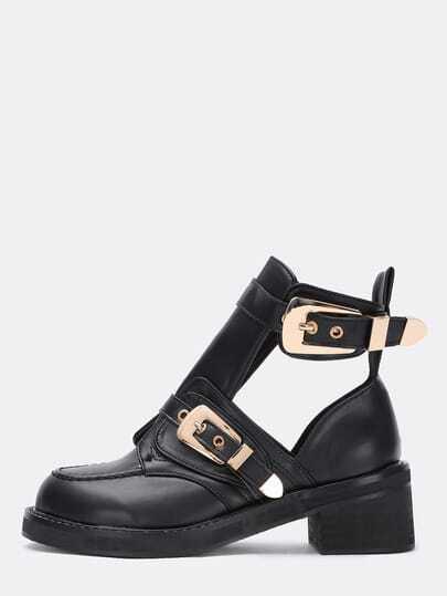 Чёрные PU ботинки на коренастых каблуках на лодыжке с пряжкой