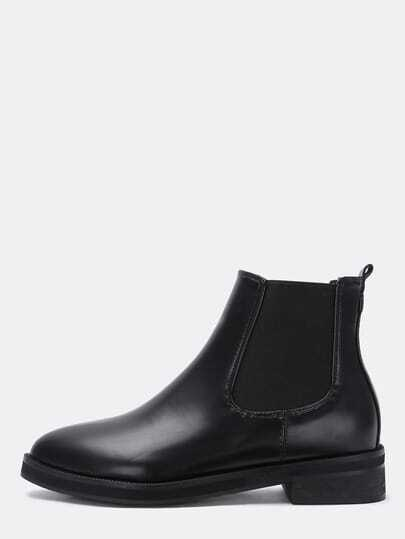 Black Chunky Heel Point Toe PU Boots