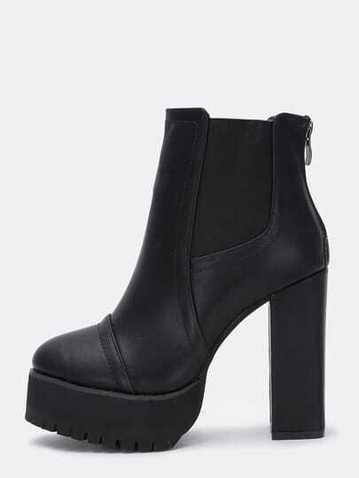 Black Zipper Chunky Heel Elastic Boots