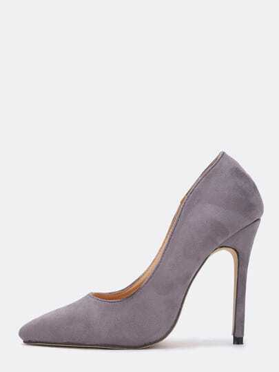 Grey Point Toe Suede High Stiletto Heel Pumps