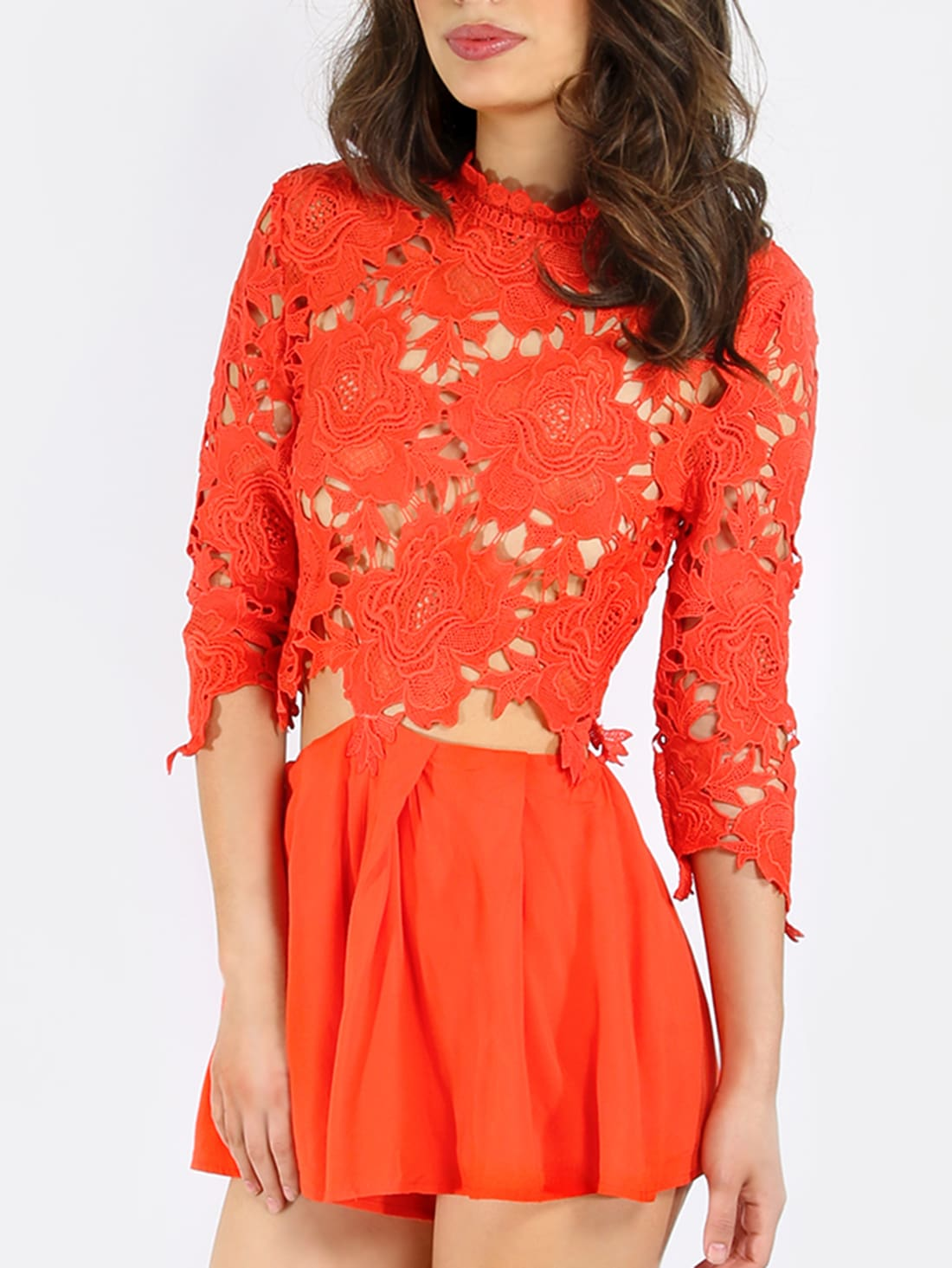 Crochet Jumpsuit : Orange Red High Neck Crochet Lace Jumpsuit -SheIn(Sheinside)
