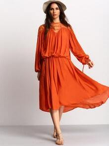Orange Long Sleeve With Lace High Low Dress