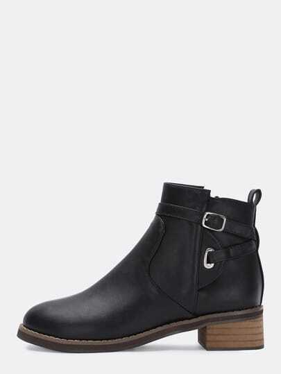 Black Buckle Strap Round Toe Boots