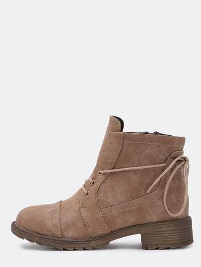 Camel Round Toe Lace Up Boots