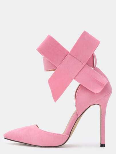 Pink With Bow Slingbacks High Heeled Pumps