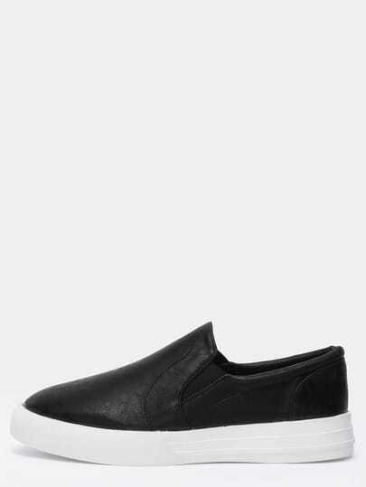 Black Thick-soled Round Toe PU Flats