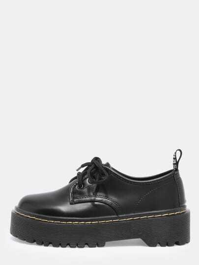 Black Round Toe Thick-soled Lace Up Boots