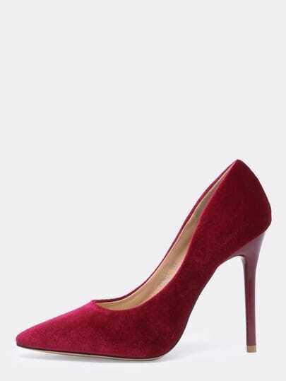 Wine Red Point Toe High Stiletto Heel Pumps