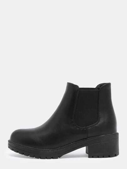 Black Chunky Heel Round Toe Boots