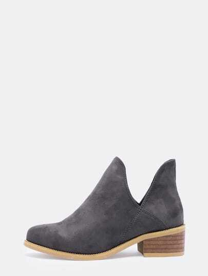 Grey Chunky Heel Round Toe Casual Boots